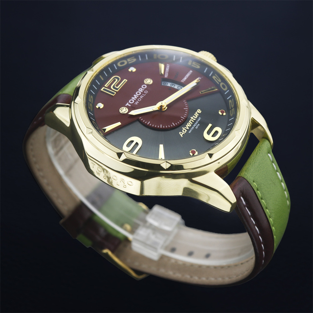 TOMORO Brand Stylish Quartz Calendar Wristwatch With Cool Dual Color Leather Fashion Strap Casual Dress For Korea Ladies