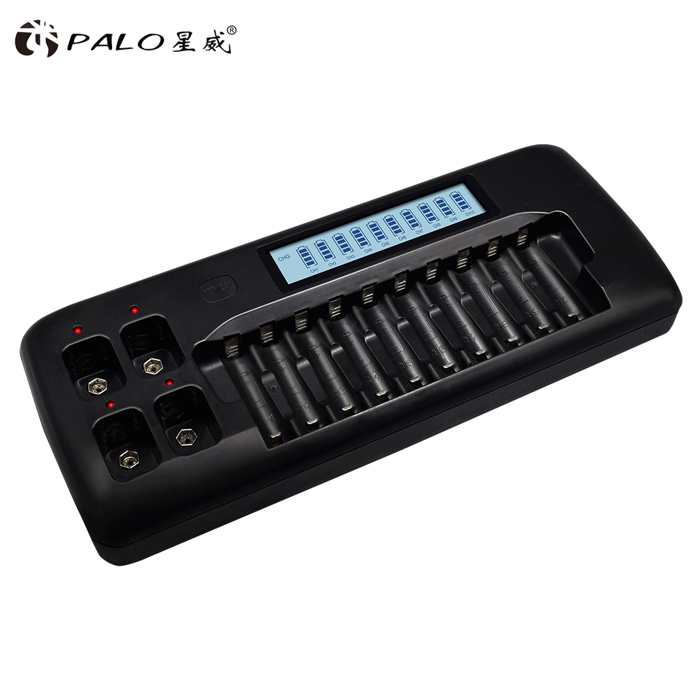 PALO Smart LCD 14-Slot Charger for AA / AAA Ni-MH Ni-Cd Rechargeable Battery 9V Ni-MH Ni-Cd Lithium Battery