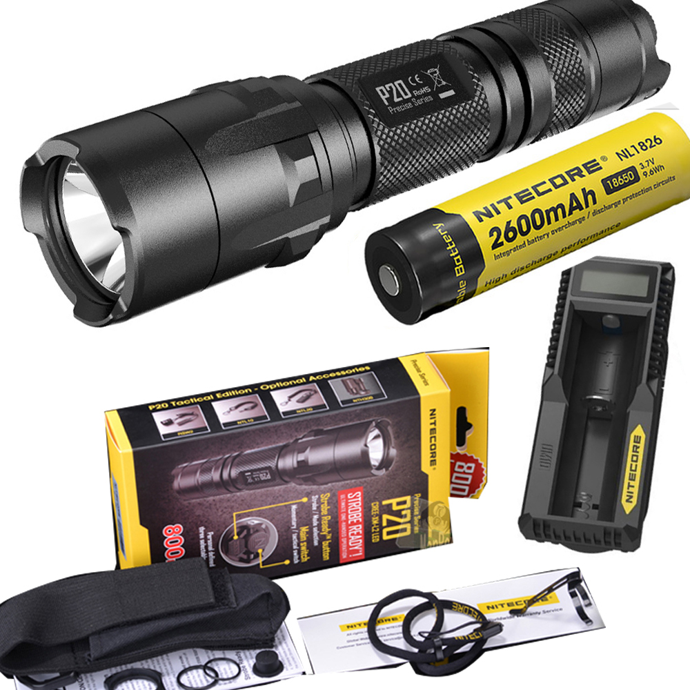 NITECORE P20 800LM Strobe Ready Tactical Flashlight Waterproof 18650 Outdoor Camping Hunting Portable Torch + battery + charger уличный настенный светильник eglo riga 94101