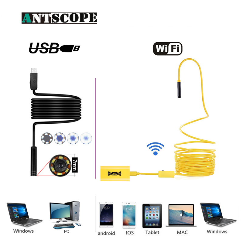 Antscope Wifi 8mm Endoscope 2/5/10M Yellow Hardwire 1200P Android iOS Endoscopio 7mm USB Softwire Camera Inspection boroscopio19
