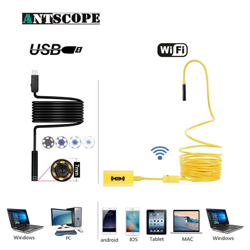 Antscope Wifi 8mm Endoskop 2/5/10 mt Gelb Hardwire 1200 p Android iOS Endoscopio 7mm USB Softwire Kamera Inspektion boroscopio19