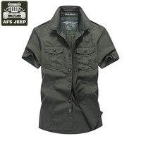 AFS JEEP Brand Shirt Men Casul Shirts Denim Shirt Men Short Sleeves Cotton Camisas Masculina Camisas