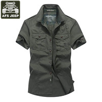 AFS JEEP Brand Shirt Men Casul Shirts Denim Shirt Men Short Sleeves Cotton Camisas Masculina Camisas