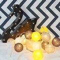 1*3 M 20LED Handmade Algodão Corda Bola de Luz Decoração Guirlandas Para O Quarto do Miúdo/Férias Com 20 PCS Preto & Amarelo Bolas de Algodão