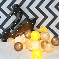 1*3M 20LED Handmade Cotton Ball String Light Decoration Garlands For Kid's Room/Holiday With 20PCS Black&Yellow Cotton Balls
