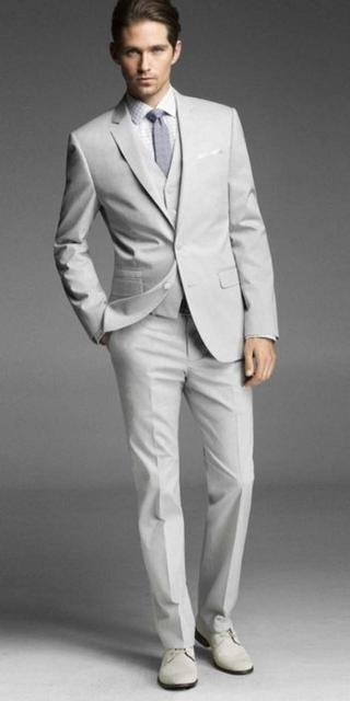 Custom Made Nuevo Estilo Traje Del Padrino de boda Blanco Muesca Solapa Esmoquin Del Novio de Los Hombres/Novio Trajes de Boda/Baile (Jacket + Pants + Vest)