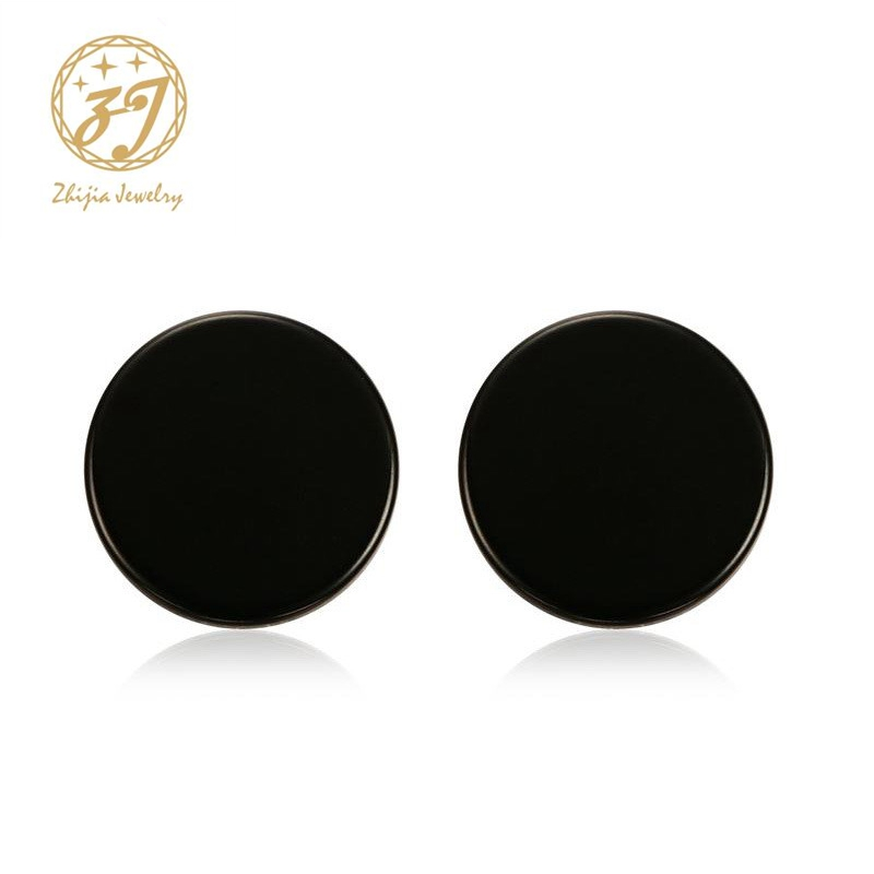 Zhijia Stainless Steel Ear Studs Earrings Black Plated Round Shaped with Butterfly Clasp Push Back Earrings Women Men Earrings
