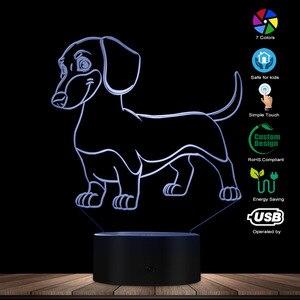 Image 3 - 소시지 개 닥스 훈트 키드 룸 나이트 라이트 테이블 램프 위너 개 애완 동물 강아지 빛나는 LED 착시 램프 장식 조명