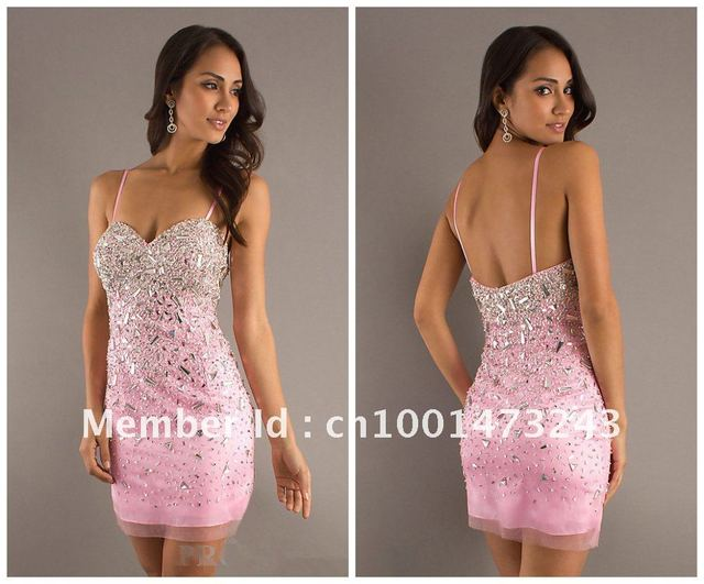 377de9581c76 C001 Sexy Spaghetti Strap Organza Pink Cocktail Dresses Beaded Sequin  Sheath Homecoming Dresses Wedding Dresses Bridal Gown