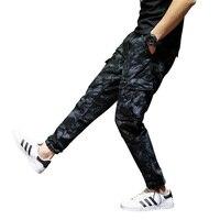 Big Size 28 40 Fashion Navy Blue Men Jeans Casual Pants Ankle Banded Jogger Pants Big