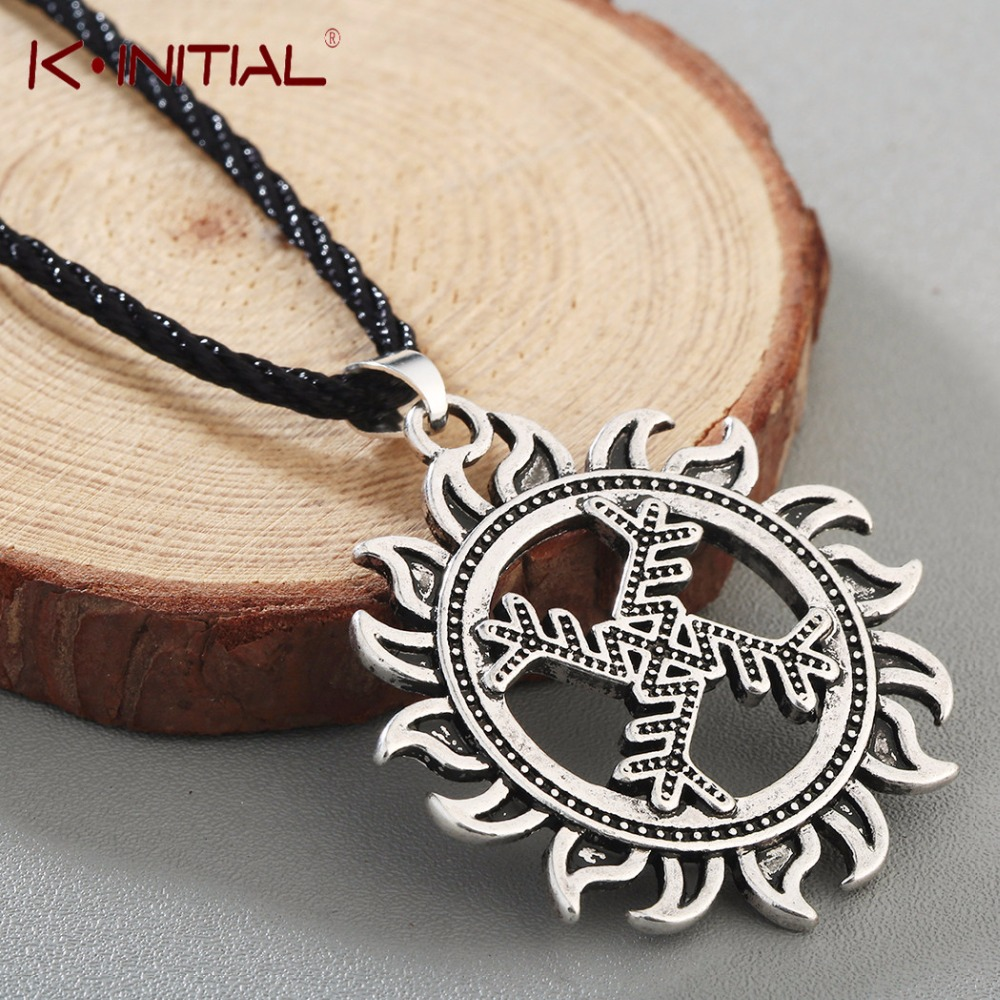 Kinitial swastika whirling log good luck symbol pendant necklace kinitial swastika whirling log good luck symbol pendant necklace wheel of life viking sun pendant jewelry wholesale in pendant necklaces from jewelry buycottarizona