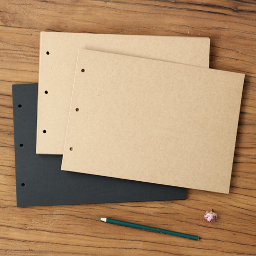Big Horizontal 3 Holes 20.5*28.5CM Kraft Black Card for Diy Photo Album Adding Inside Pa ...