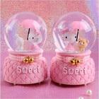Crystal Ball Music Box Pink Girl Star Moon Rainbow Unicorn Glowing Snowflakes Music Box Home Decoration Desktop Ornament