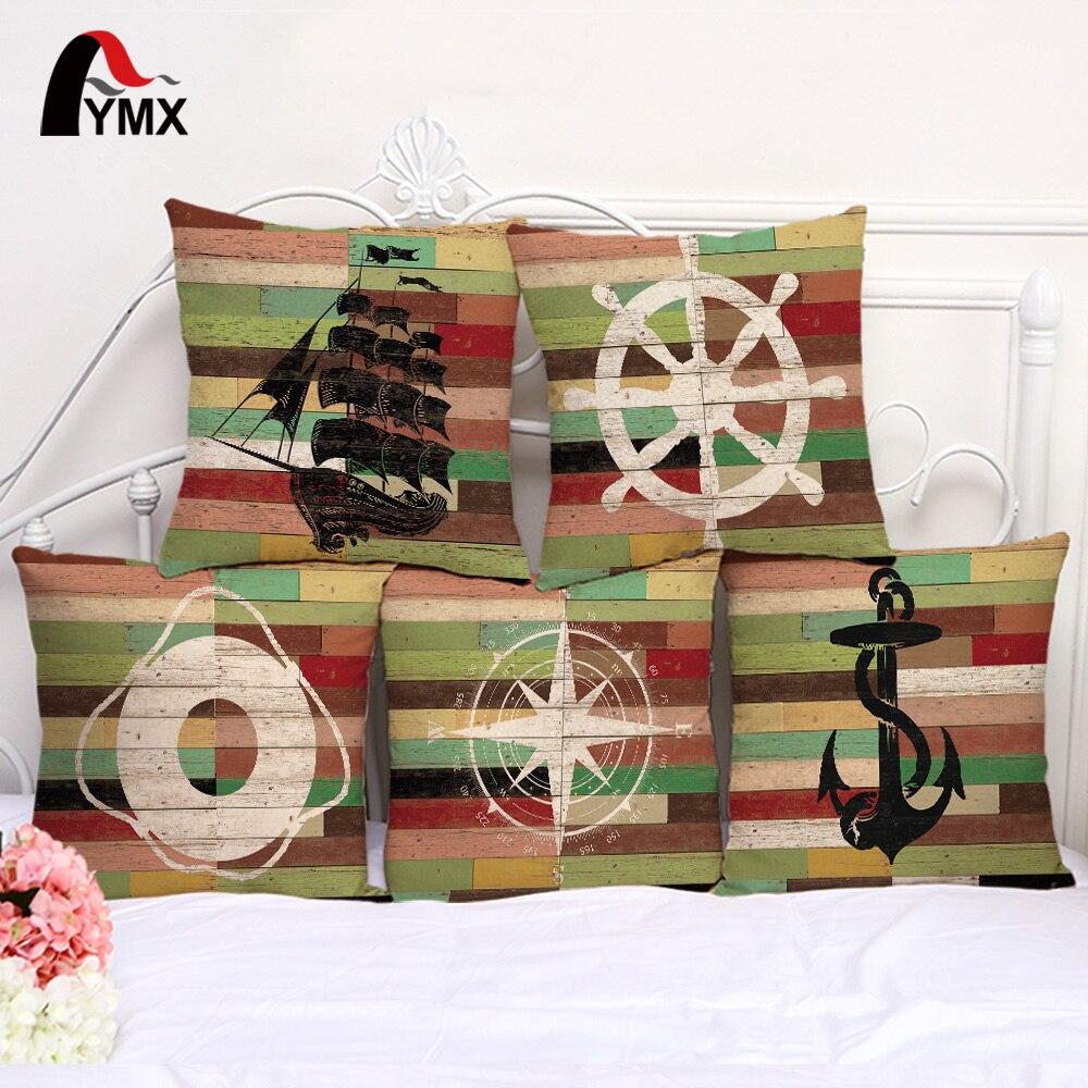 Mediterranean Series Cushion Cover Sailing Boat Anchor Cotton Linen Pillow Case Home Window Decorative Car Sofa Pillowcase