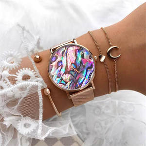 Wristwatch Mavis Hare Real-Abalone Bracelet Mesh Rose-Gold Stainless-Steel Coral Dream