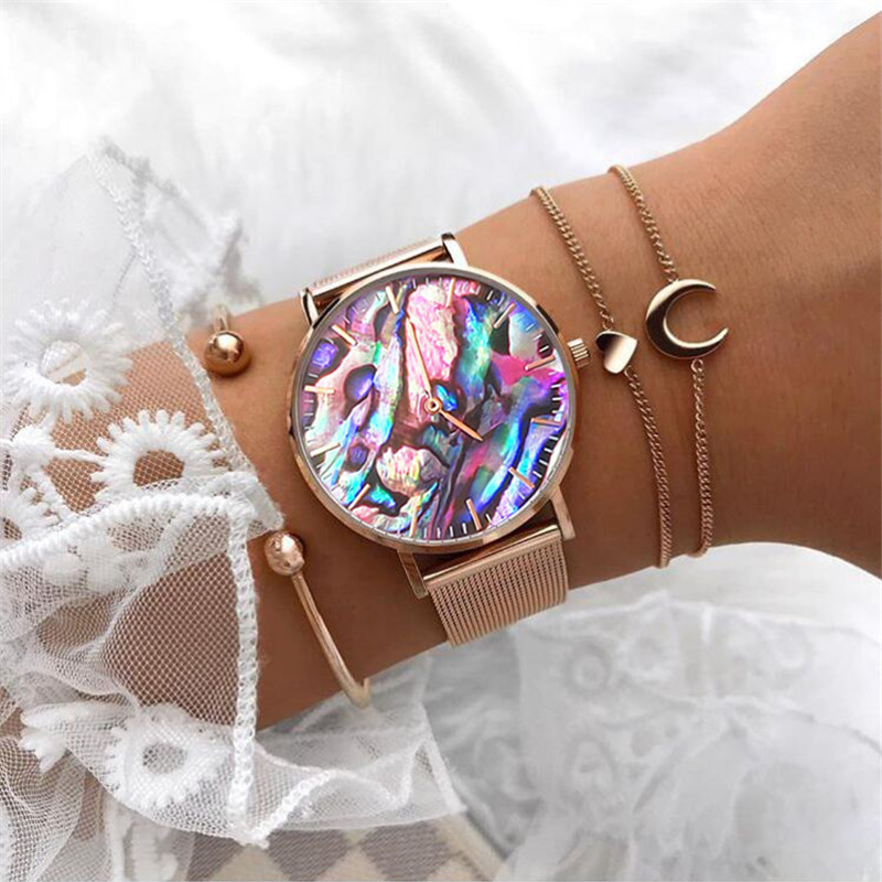 Mavis Hare New A Dream Of Coral Red Real Abalone Rose Gold Mesh WristWatch With Stainless Steel Moon & Heart Link Bracelet Beach