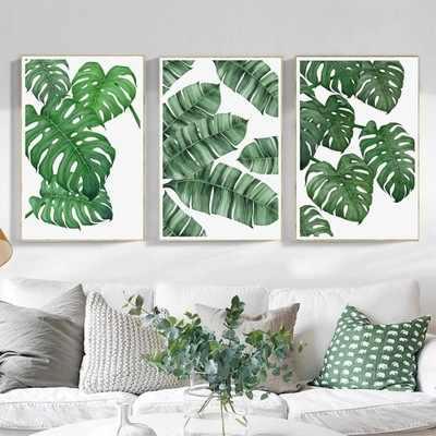 الشمال الحد الأدنى الديكور اللوحة النبات الأخضر شجرة أوراق جدار صور لغرفة المعيشة الاطفال الفتيان الفتيات قماش لا مؤطرة
