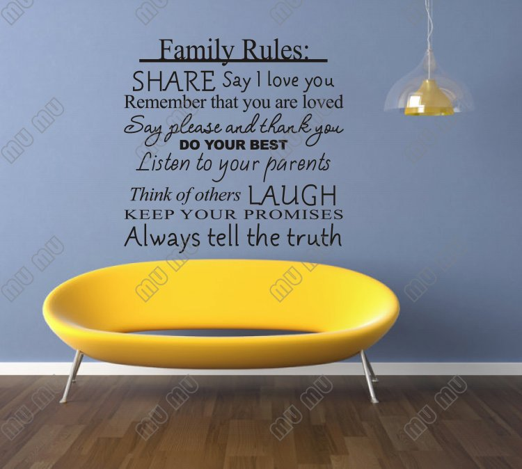 Family Rules Share say I love you do your best... Vinyl wall decals quotes sayings home decor SIZE 22 W*22 H BLACK-in Wall Stickers from Home u0026 Garden on ... & Family Rules: Share say I love you do your best... Vinyl wall ...