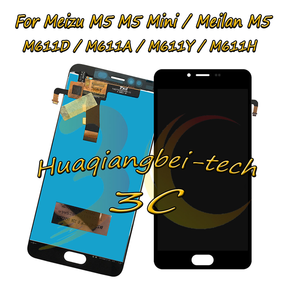 New 5.2 For Meizu M5 M5 Mini M611D / Meilan M5 M611A M611Y M611H Full LCD DIsplay + Touch Screen Digitizer Assembly 100% Tested
