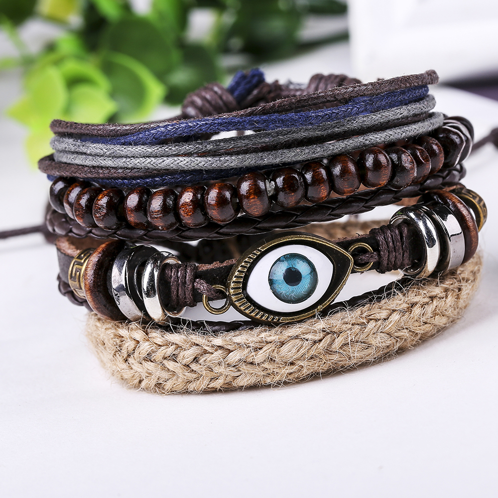 SPINNER Hot 4pcs 1 Set Punk Design Turkish Evil Eye Leather Bracelets Men For Women Cuff Vintage Jewelry Accessories
