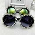 Big Polit & Rodada Sungalsses Desenhador Handmade Vintage Crystal & Rhinestone Luxo óculos de Sol das senhoras Praia & Party óculos de Sol Das Mulheres