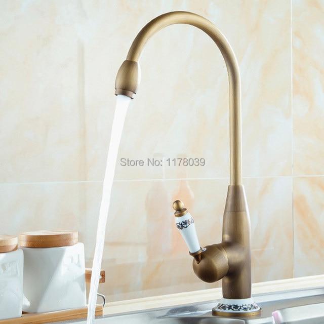 Vintage Copper Kitchen Faucet Single Handle Bronze Kitchen Sink