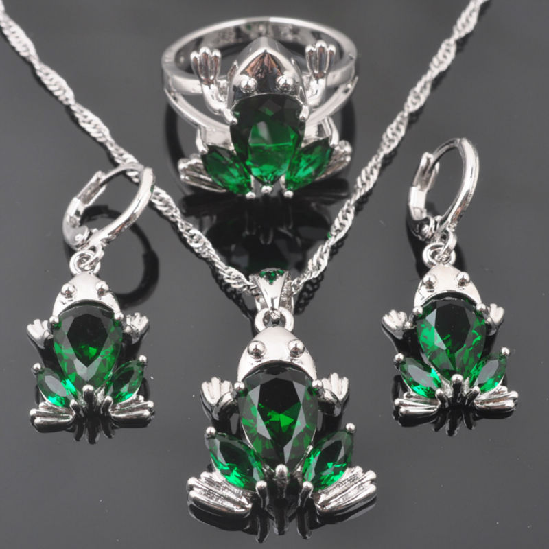 FAHOYO Green Zircon Frog Design Women's 925 Sterling Silver Jewelry Sets Earrings/Pendant/Necklace/Rings Free Shipping QZ0319