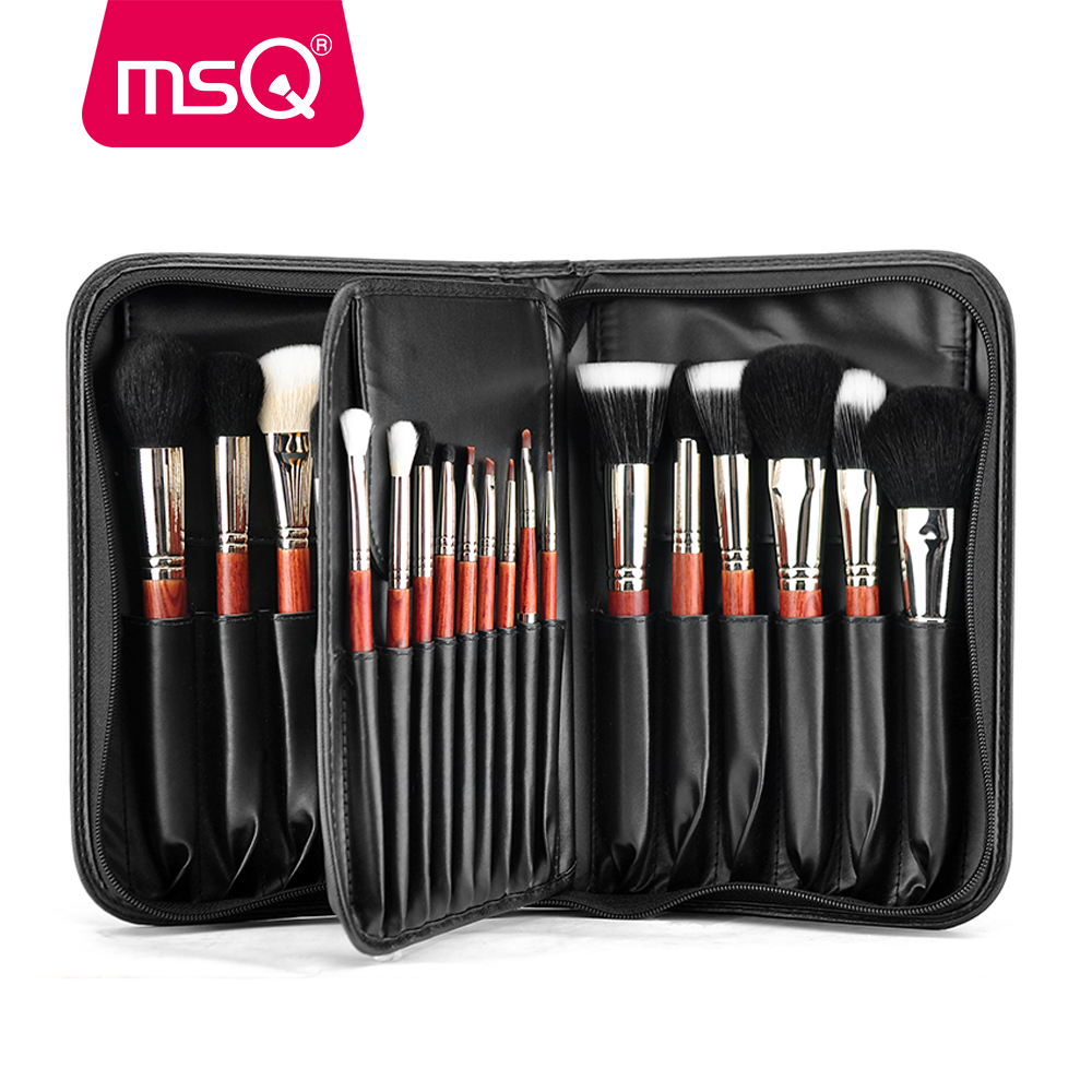 MSQ Pro 29pcs Makeup Brushes Set Foundation Powder Eyeshadow Make Up Brush Kit Copper Ferrule Animal Hair With PU Leather Case