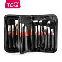MSQ Pro 29pcs Makeup Brushes Set Foundation Powder Eyeshadow Make Up Brush Kit Copper Ferrule Animal Hair With PU Leather Case