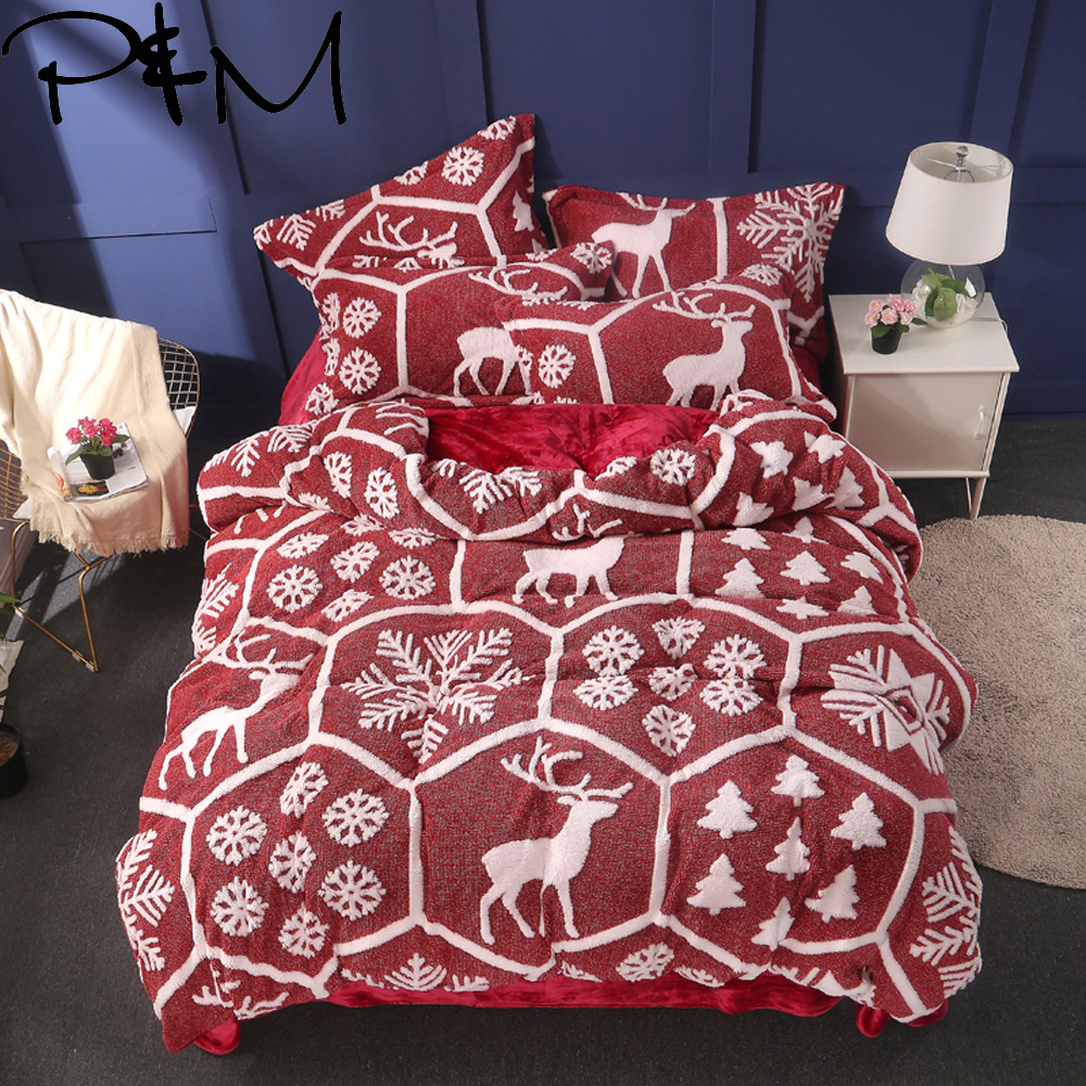 Papa&Mima Snowflakes and elk Fleece Fabric bedlinens Queen King size bedding set duvet cover flat sheet <font><b>pillowcases</b></font> image