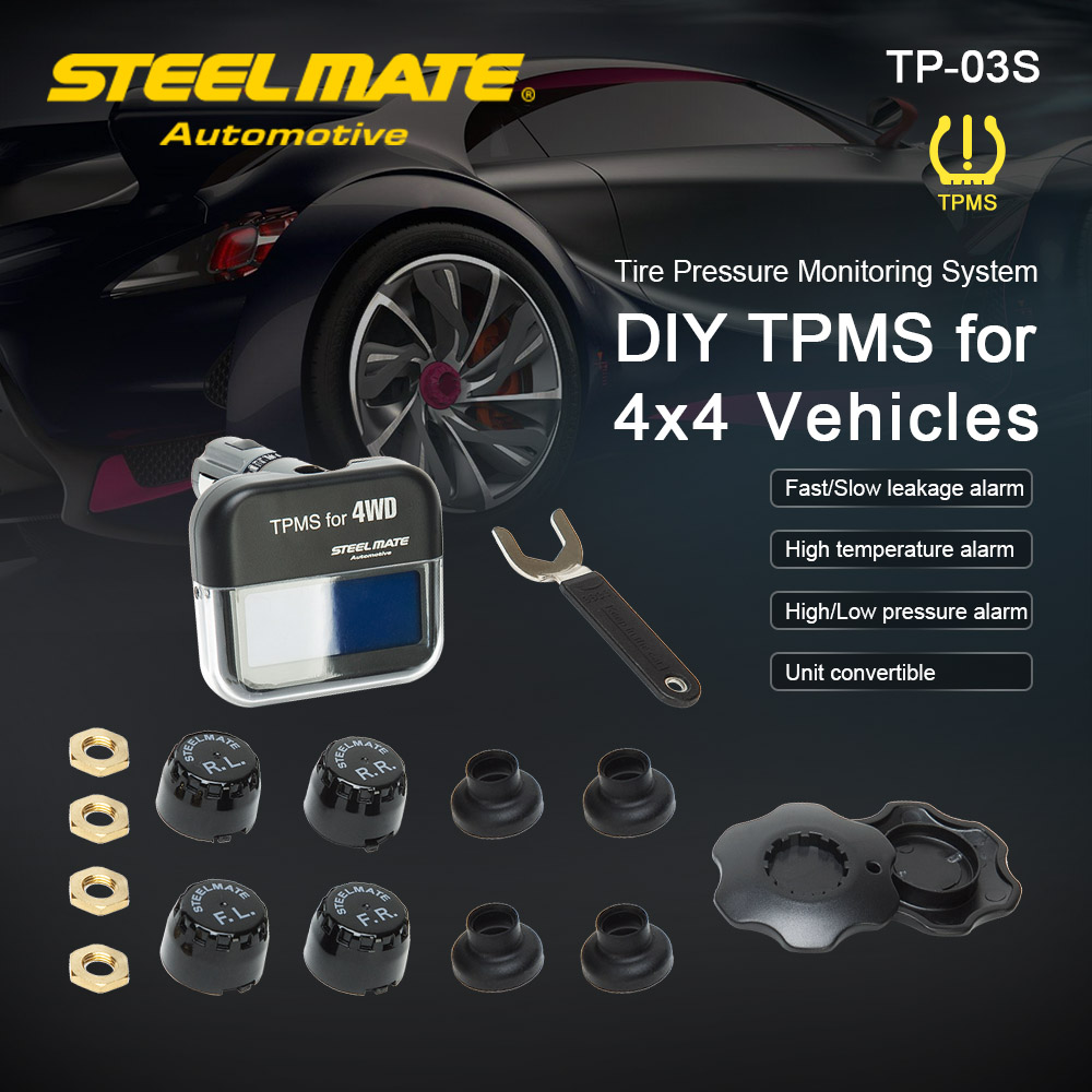 Steelmate TP-03S TPMS Tire Pressure Monitoring System With Adjustable LCD Display Cigarette Plug 4 Valve-cap External Sensors