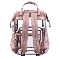AUAU Fashion Transparent Waterproof Backpacks Clear Pvc Zipper School Bags For Teenage Girls Travel Bag