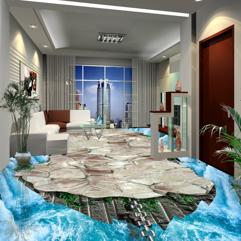 Free Shipping Waterfall painting stereo wear custom thickened self-adhesive living room bathroom mural wallpaper floor free shipping marble texture parquet reliefs 3d floor painting lifelike thickened wallpaper self adhesive bathroom mural