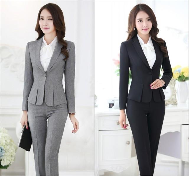 3d1297b99 Trajes pantalón formales para mujeres trajes de negocios para conjuntos de  ropa de trabajo chaqueta gris