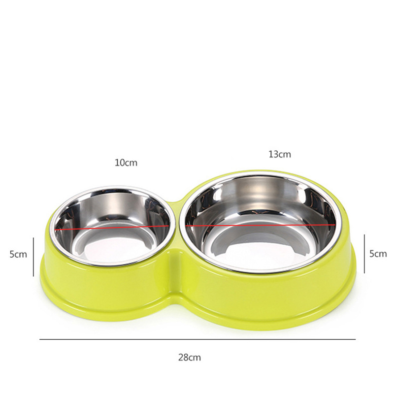 Stainless Steel Pet Dog Bowls Double Puppy Cats Eating Feeder Container  Drinking Bowl Anti-slip Pet Feeding & Watering Dish #2