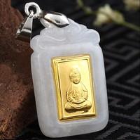 100% Natural Nephrite Hetian and 24K Yellow gold Net bottle Kwan Yin Pendant