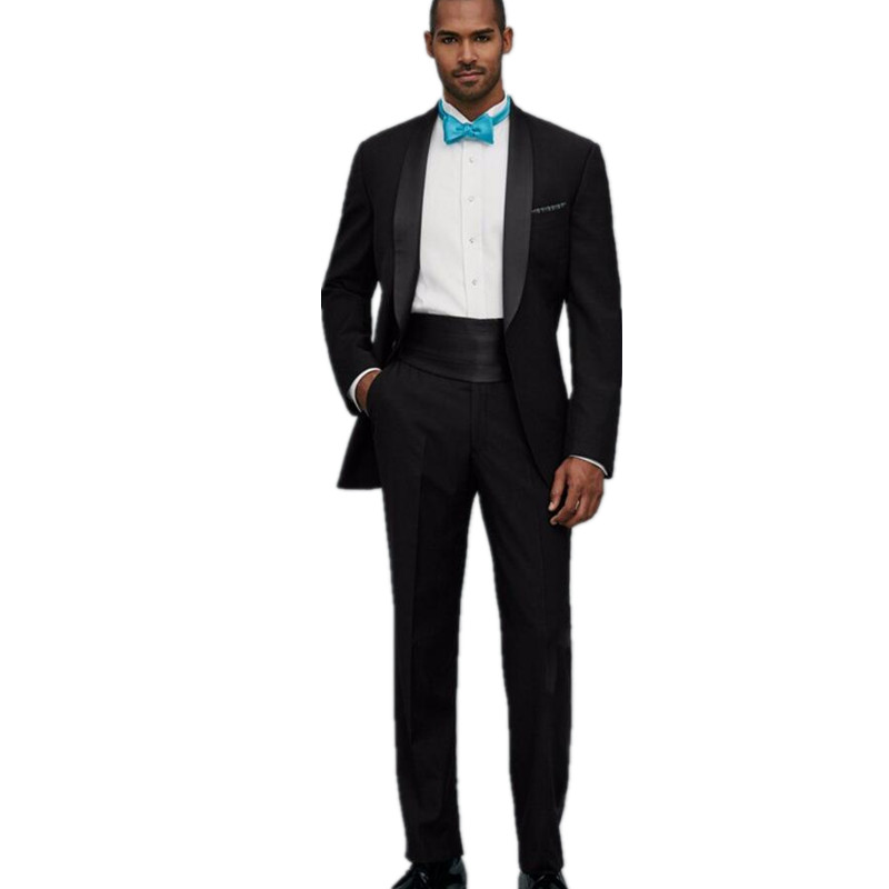 High Quality One Button Black Groom Tuxedos Groomsmen Men s Wedding Prom font b Suits b