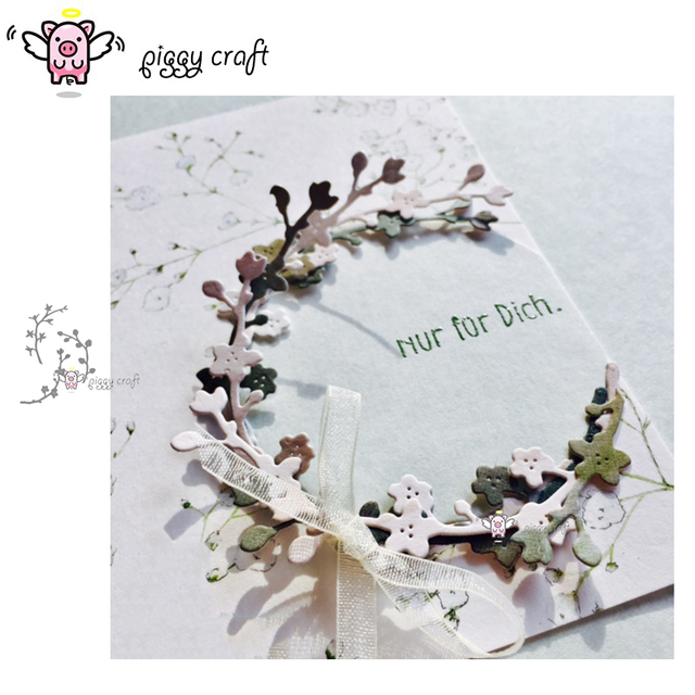 Piggy Craft metal cutting dies cut die mold 3Pcs Flower branch leaves Scrapbook paper craft knife mould blade punch stencils die