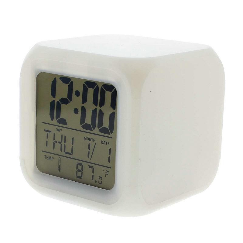 New Design 7 Colour Changing LED Digital Alarm Clock With Date Alarm&Temperature
