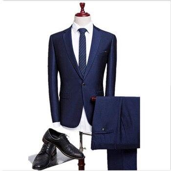 fbf245453 Clásico de la moda de los hombres traje de traje azul oscuro  collar-breasted hombres suite de oficina y el padrino Vestido 2 conjuntos  (chaqueta + ...