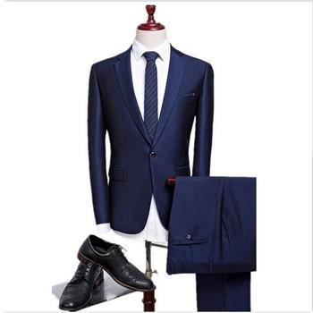 Moda clásico juego de los hombres traje azul oscuro collar single-breasted  hombres Oficina Suite y padrinos de boda Vestido 2 sets (chaqueta +  pantalones) 63fb782e68bf