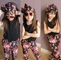 3 pcs Da Criança Roupas Das Meninas Tops T-shirt Calças Headband do Floral Crianças Roupas de Verão Crianças Terno Roupas