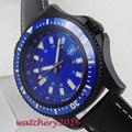 Автоматические механические мужские часы с синим стерильным циферблатом  44 мм