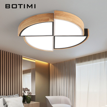 BOTIMI New Arrival LED Ceiling Lights With Wooden Frame For Living Room Lamp Ceiling Rooms Lights Round Bedroom Lighting