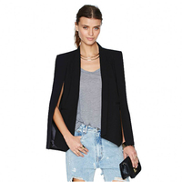 Women European Style Suit Pattern Opening Sleeves Solid Color All Matching Autumn Spring Jacket White Black FS0746