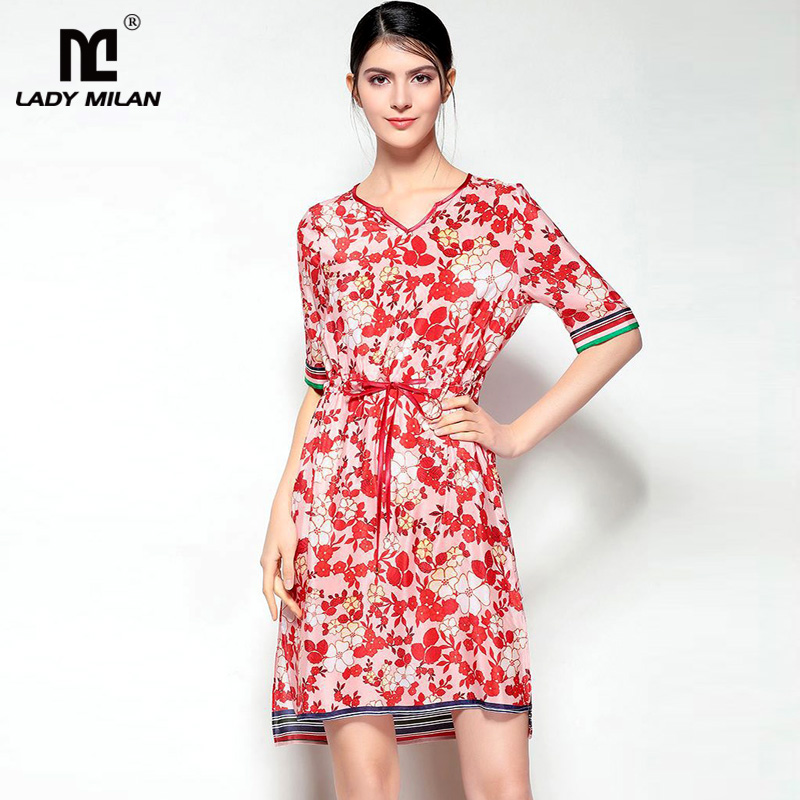 New Arrival 2018 Womens Sexy V Neck Short Sleeves Floral Printed Striped 100% Silk Fashion Short Dresses