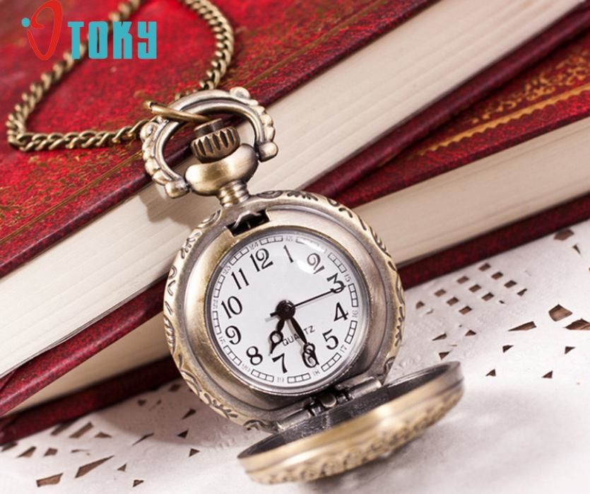 OTOKY Hot Unique Pocket Fob Watches Vintage Retro Bronze Quartz Pocket Watch Pendant Chain Necklace Drop ship F12 wholesale fashion quartz eye pyramid fob watches men gift pocket watch necklace women antique retro classic bronze father hot