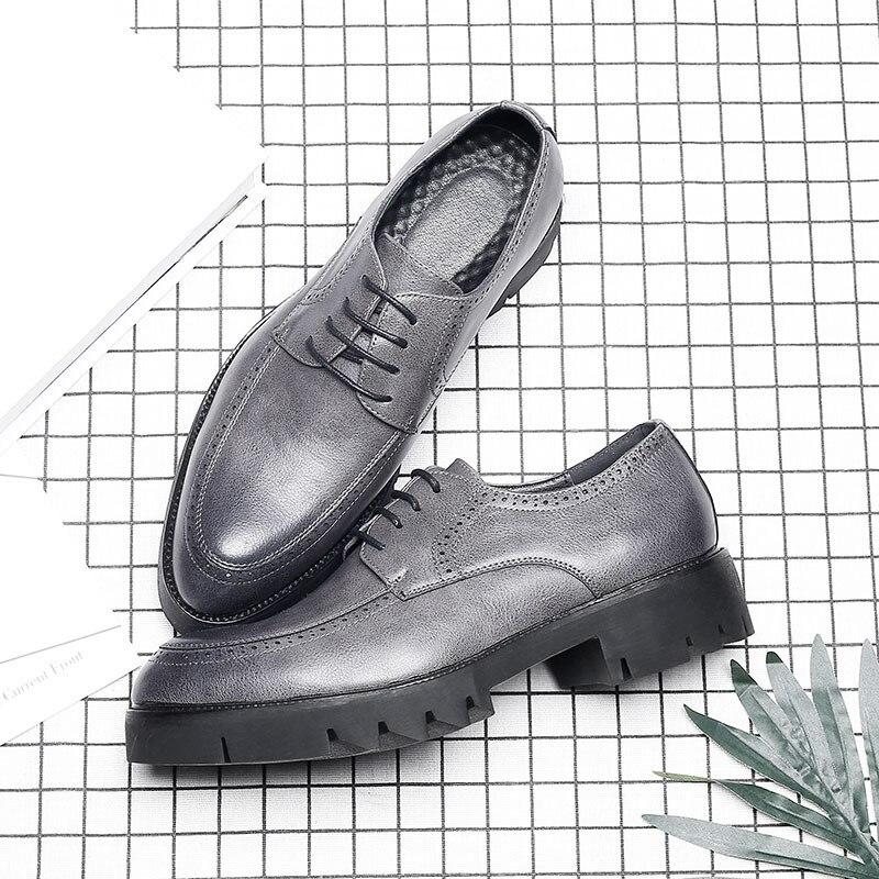 Black Luxo Soft De Sapatos Designer Couro cinza Msw8118126 Mens Leather Homens Marca Elegante Clássico Formais qPxw77FR0