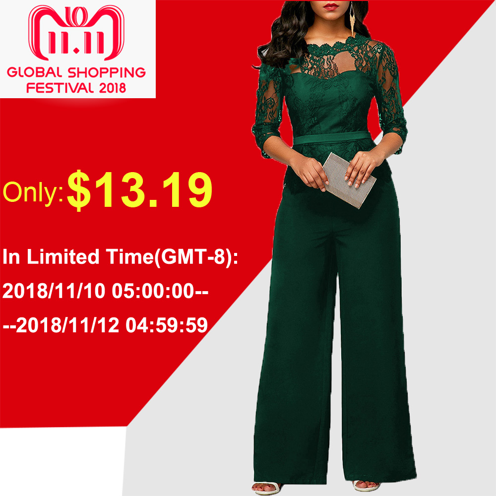 Lace Jumpsuits For Women 2018 Autumn Sexy High Waist Palazzo 3/4 Sleeve One Piece Peplum Rompers With Long Wide Leg Pant Easy To Use Women's Clothing