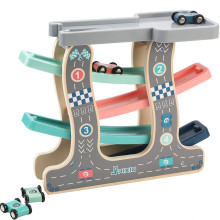 Baby Kids Wooden Ladder Gliding Car Wooden slot Track Car Toys Educational Model to Slide toy for children boy gifts цена и фото